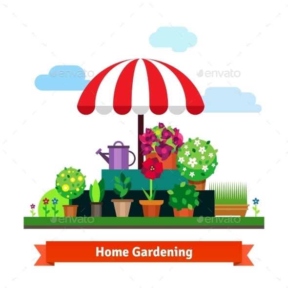 Home Greening Store With Plants, Flowers, Grass - Business Conceptual