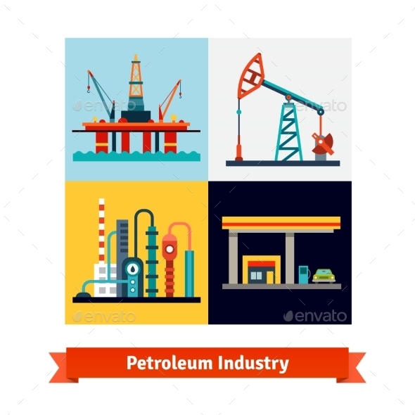 Crude Oil Extraction, Refining, Selling Business - Technology Conceptual