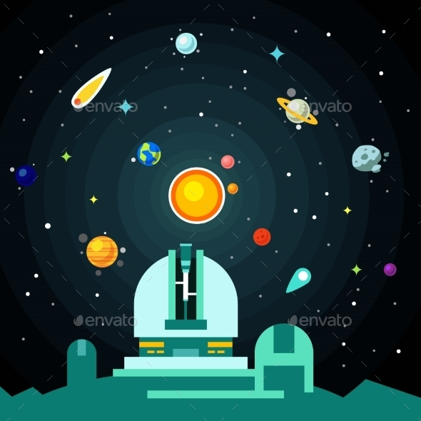 Observatory Station, Solar System With Planets - Technology Conceptual
