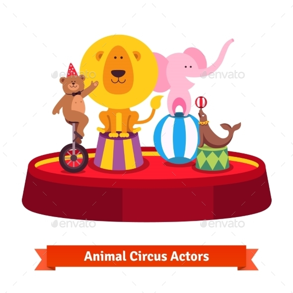 Playing Circus Animals Show On Red Arena - Sports/Activity Conceptual