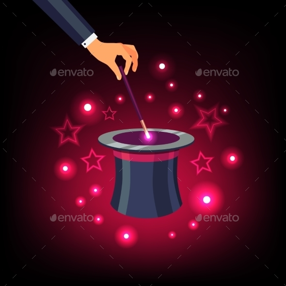 Hand Holding Magic Wand Over a Magical Top Hat - Conceptual Vectors