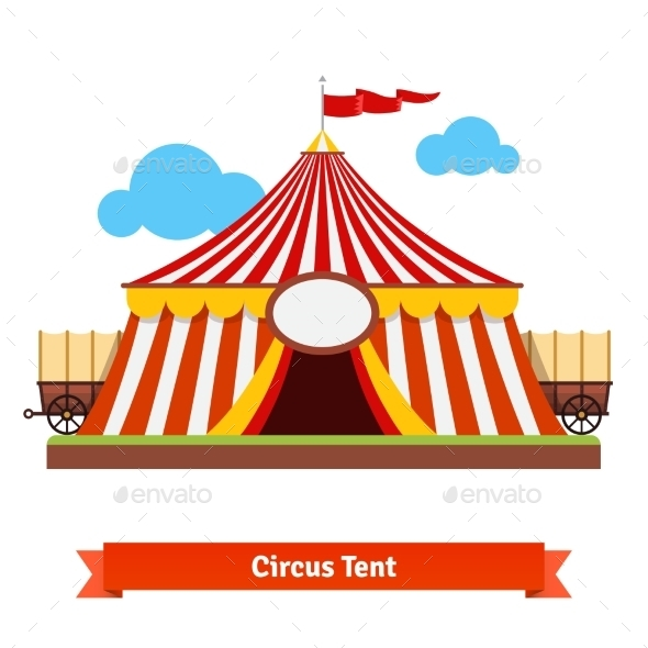 Open Circus Tent With Wagon Wheel In The Back - Buildings Objects