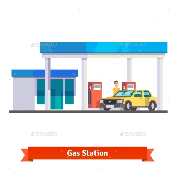 Gas Station With Man Fuelling Car - People Characters