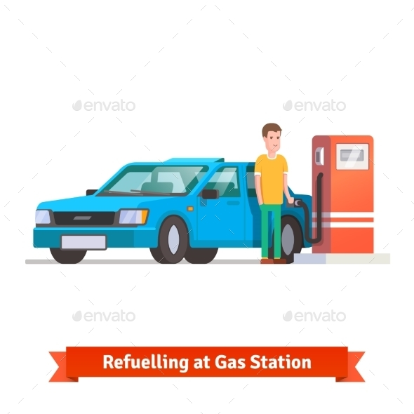 Man Refuelling His Car At Petrol Station - People Characters