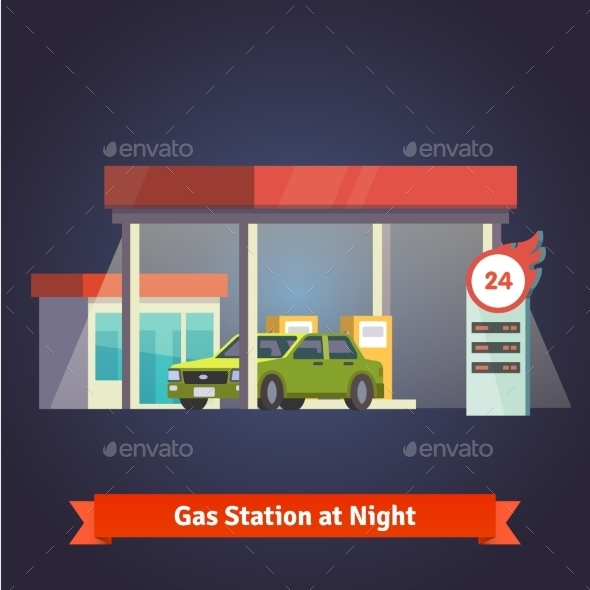 Gas Station Glowing At Night. Store, Price Board - Buildings Objects