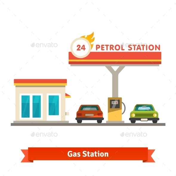 Petrol Station With Two Cars - Buildings Objects