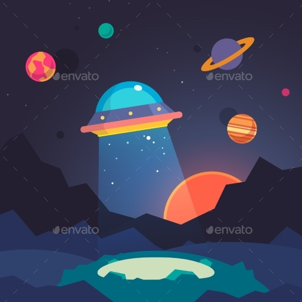 Night Alien World Landscape And Ufo Spaceship - Objects Vectors