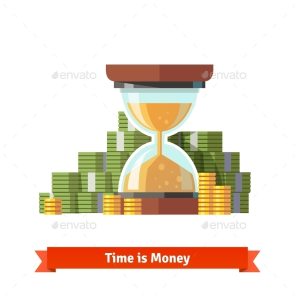 Hourglass In a Pile Of Stacked Dollar And Coin - Concepts Business