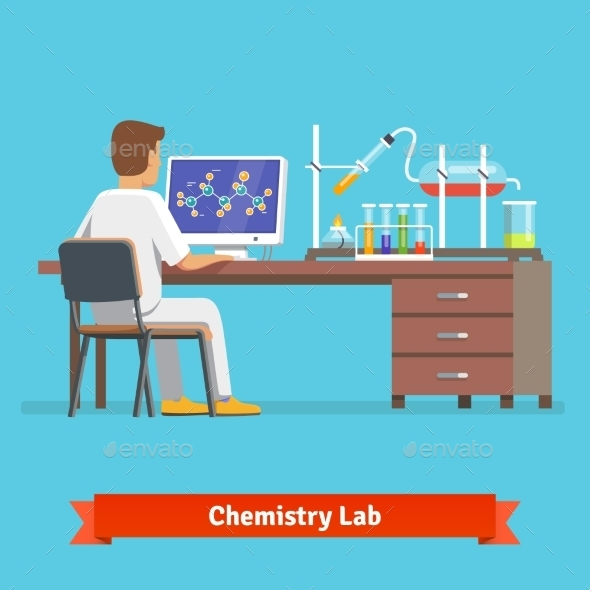 Medical Chemistry Lab Worker Researching - Health/Medicine Conceptual