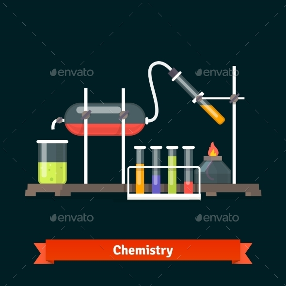 Chemical Laboratory Experiment And Glassware - Objects Vectors