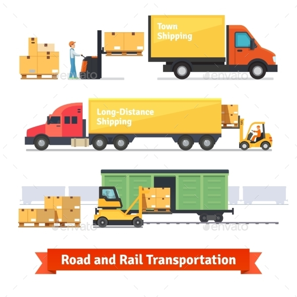 Cargo Transportation By Road And Train - Conceptual Vectors