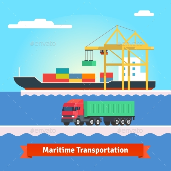 Big Container Ship Being Loaded By Huge Port Crane - Conceptual Vectors