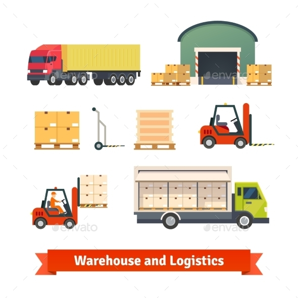 Warehouse Inventory, Logistics Truck - Objects Vectors