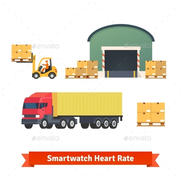 Warehouse, Logistics, Trailer Truck, Loading Cargo - Objects Vectors