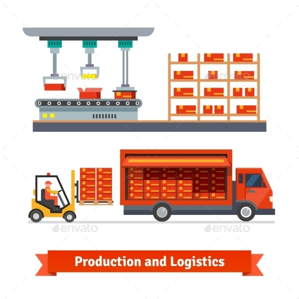 Fully Automatic Production Line And Delivery Truck - Business Conceptual