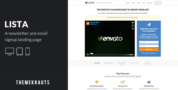 Free Download Lista | Newsletter Form Landing Page Nulled Latest Version