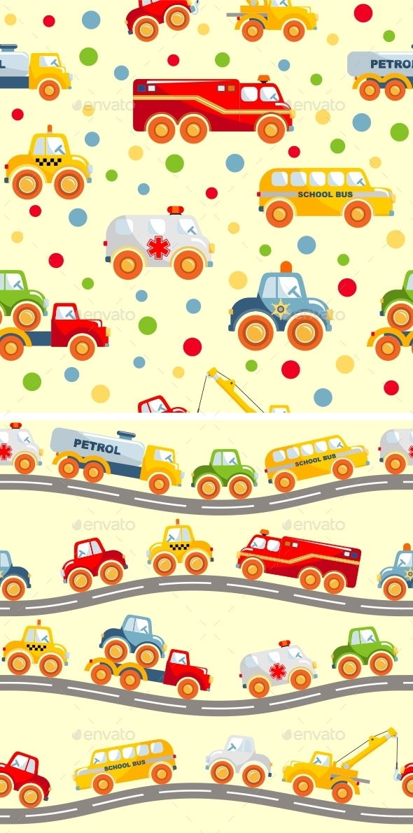 Toys Transport Seamless Pattern - Man-made Objects Objects