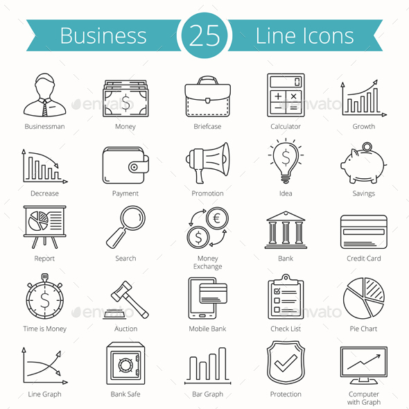 25 Business Line Icons - Business Icons
