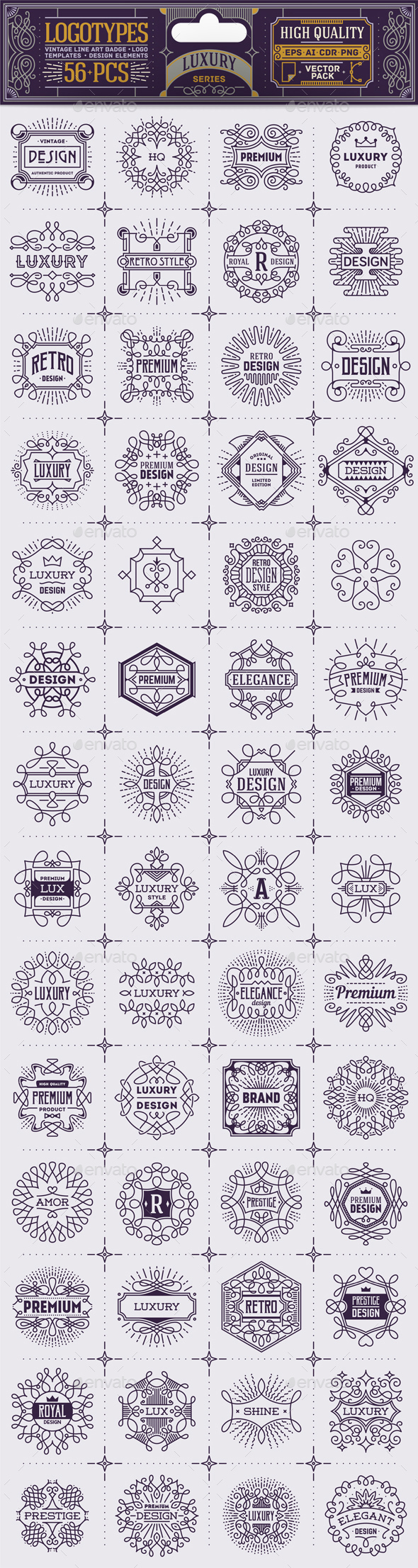 Luxury Thin Line Badges and Logos. Vector Pack. - Decorative Symbols Decorative