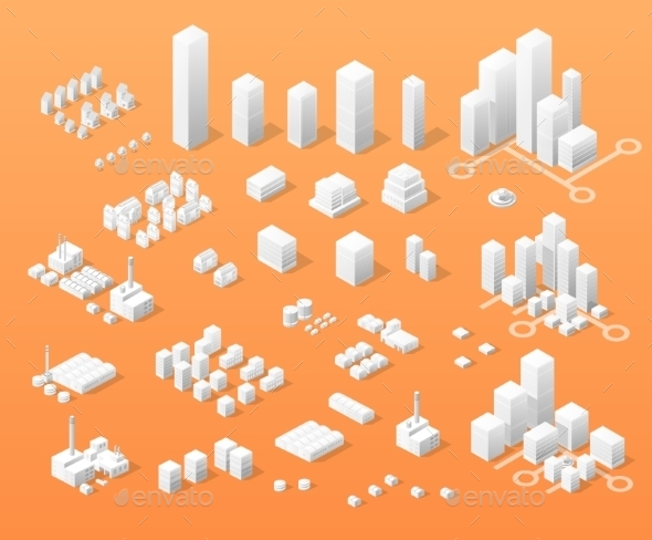 Print Vector Isometric  - Buildings Objects