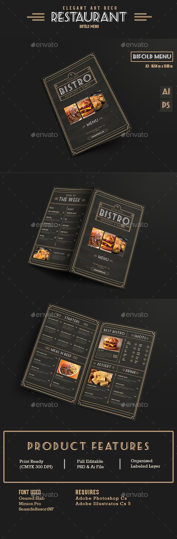 Elegant Bifold Restaurant Menu - Food Menus Print Templates