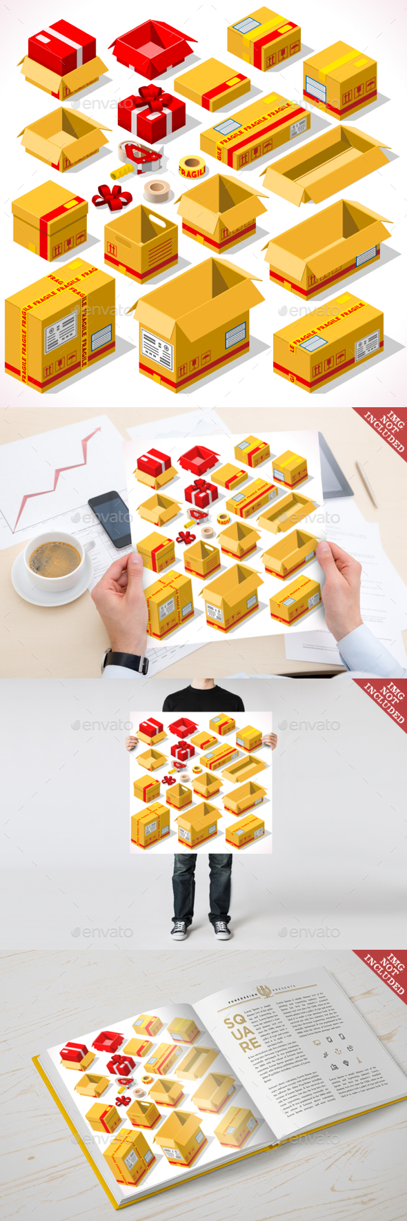 Packaging 02 Objects Isometric - Objects Vectors