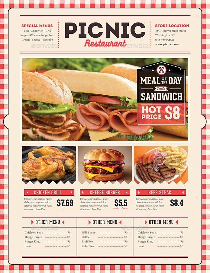 Retro flyer menu food restaurant by Guuver | GraphicRiver