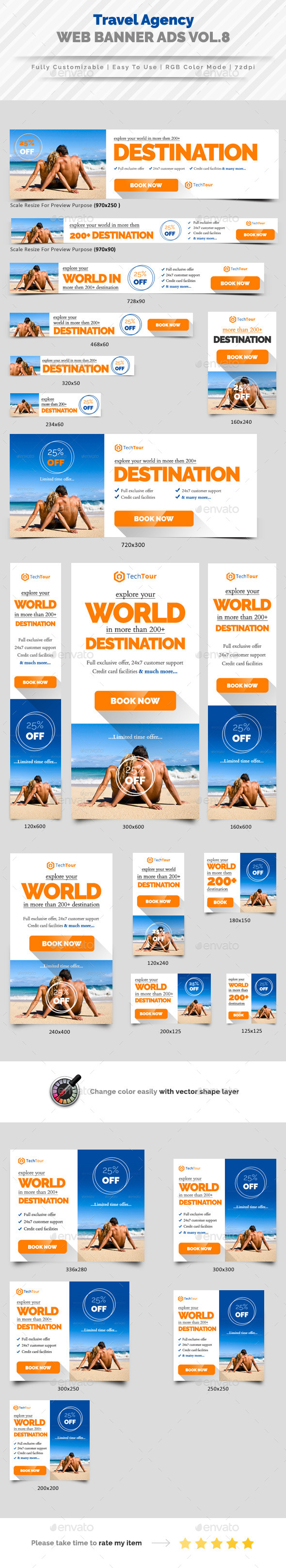 Travel Agency Web Banner Ads Vol.8 - Banners & Ads Web Elements