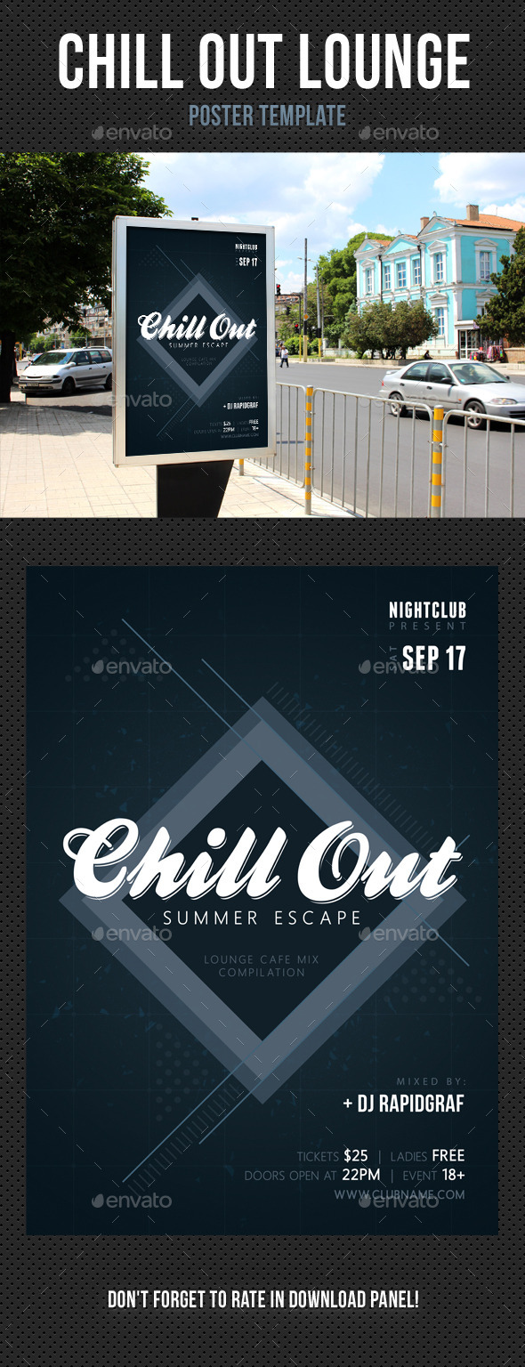 Chill Out Lounge Poster Template 02 - Signage Print Templates
