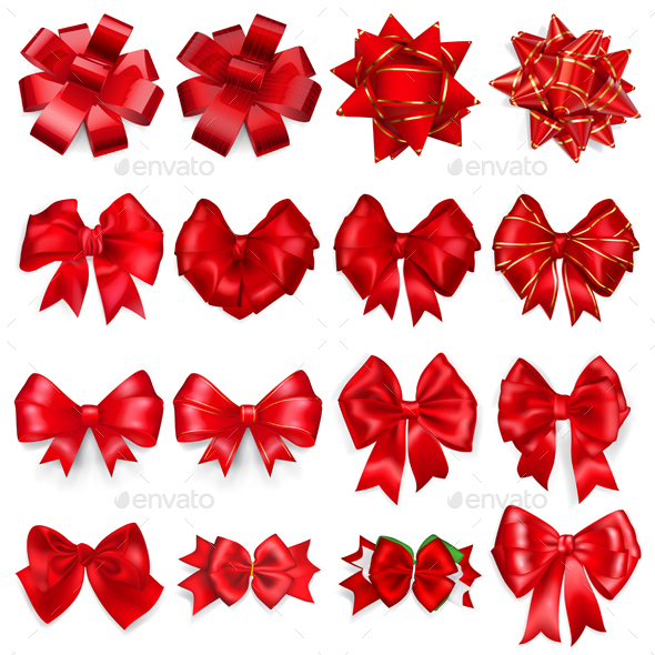 Set Of Red Bows - Decorative Symbols Decorative
