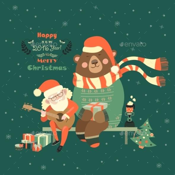 Santa Claus Playing Guitar for the Bear - Christmas Seasons/Holidays