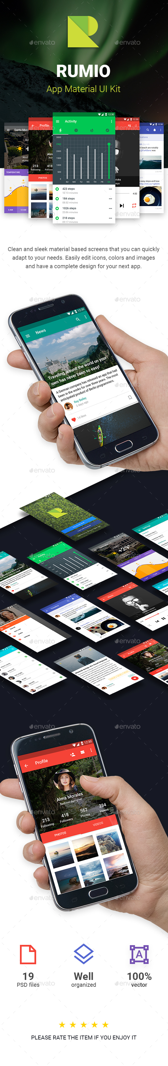Rumio Android Material UI Kit - User Interfaces Web Elements