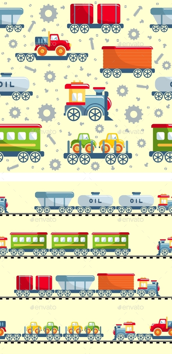 Toys Railway Seamless Pattern - Man-made Objects Objects