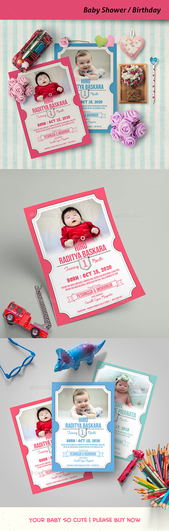 Baby Shower / Birthday Card - Family Cards & Invites