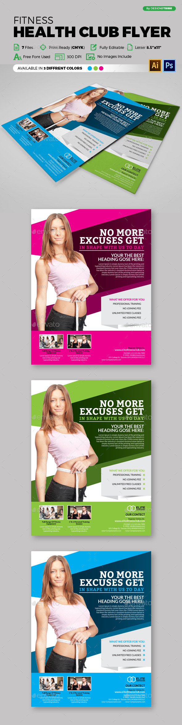 Fitness Health Club Flyer 88 - Flyers Print Templates