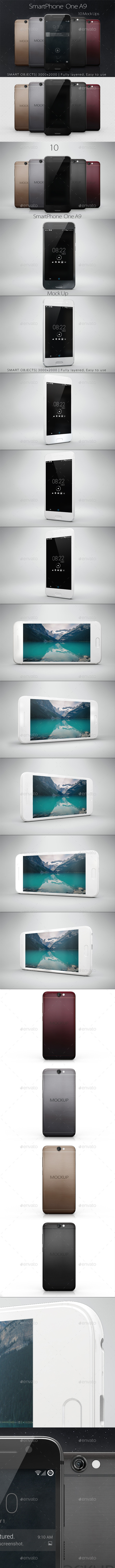 SmartPhone One A9 Mock Up - Product Mock-Ups Graphics