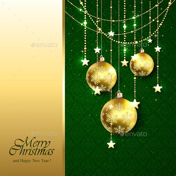 Golden Christmas Balls on Green Background - Christmas Seasons/Holidays