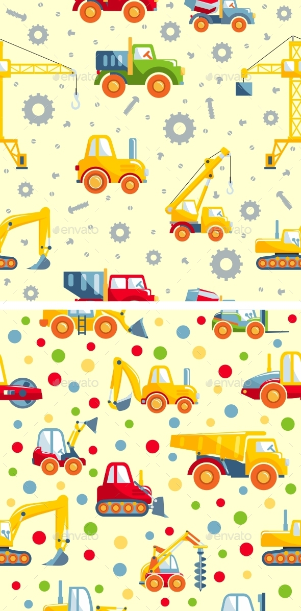 Toys Heavy Construction Machines Seamless Pattern - Man-made Objects Objects
