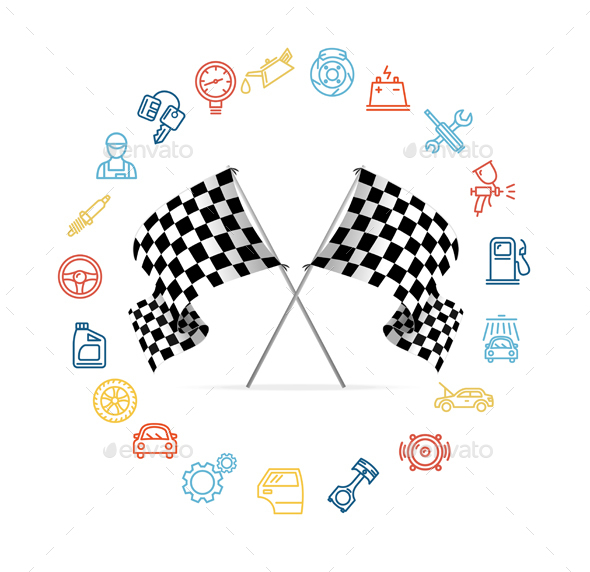 Car Icon Set and Checkered Flags Motor Racing.  - Sports/Activity Conceptual