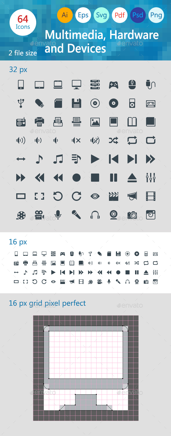 Multimedia, Hardware and Devices - Web Icons