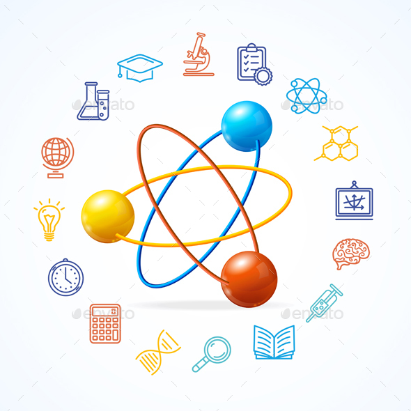 Science Concept and  Outline Colorful Icons Set  - Miscellaneous Conceptual