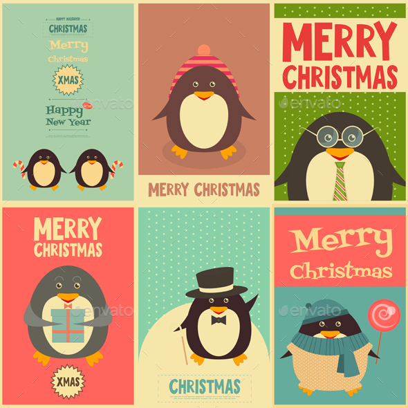 Merry Christmas Greetings with Penguins - Christmas Seasons/Holidays