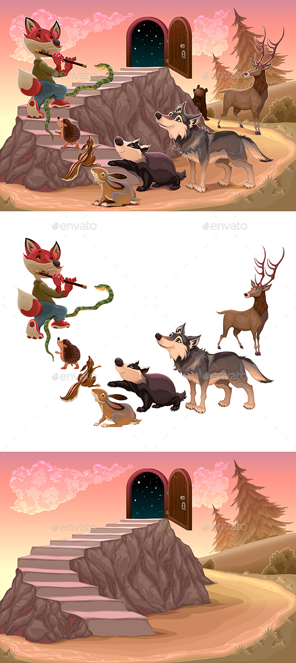 Playing the Flute Music to Go Beyond the Fear - Animals Characters