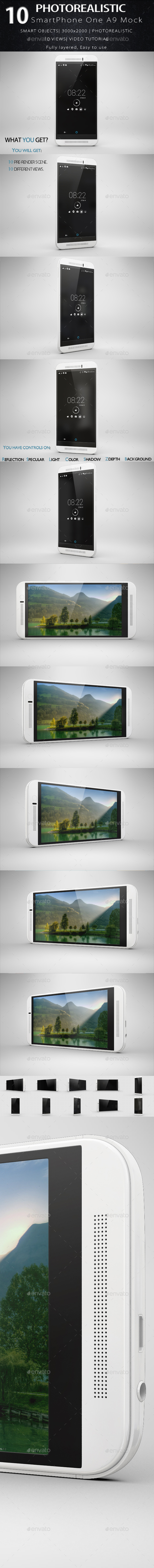 SmartPhone One M9 Mock Up - Product Mock-Ups Graphics
