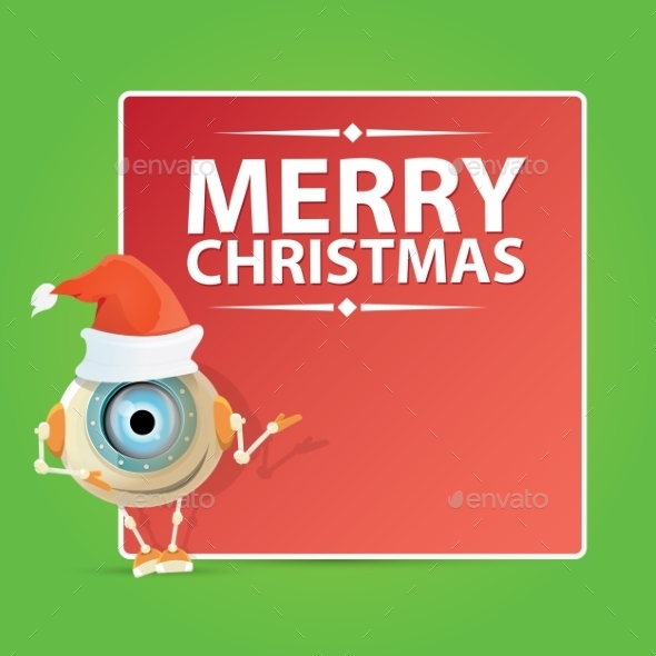 Cartoon Robot with Santa Claus Red Hat  - Miscellaneous Characters