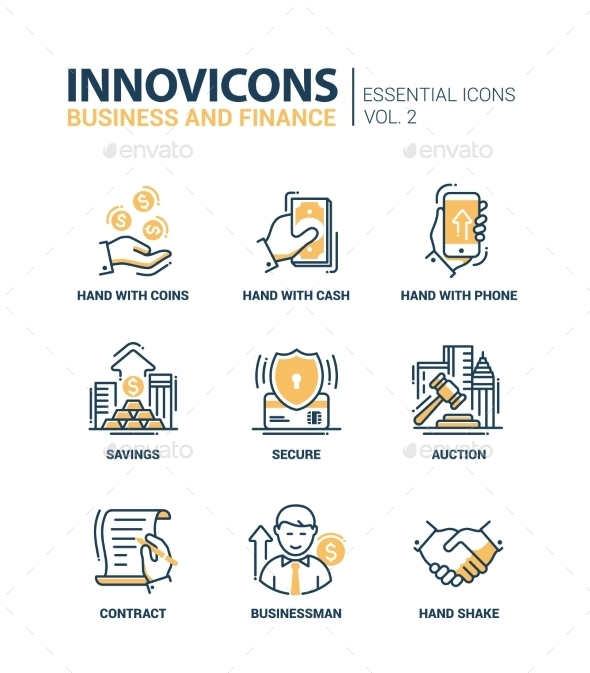 Set Of Modern Office Thin Line Flat Design Icons - Business Conceptual