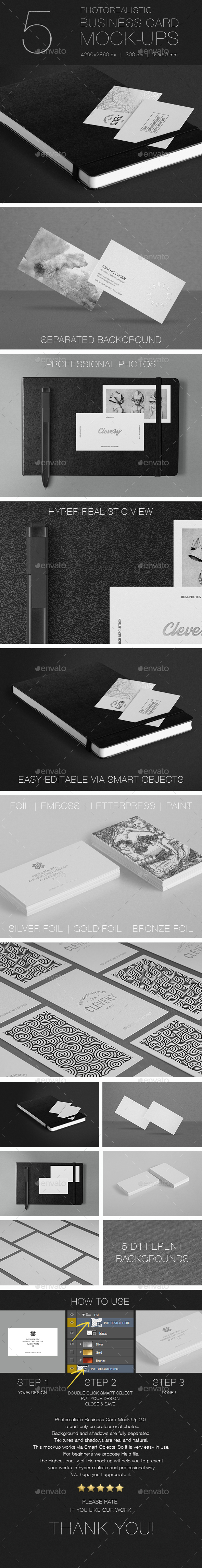 Photorealistic Business Card Mock-Up 2.0 - Business Cards Print