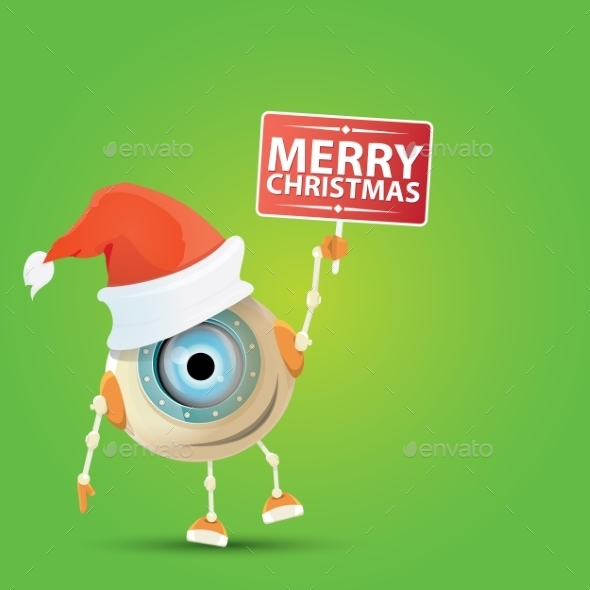 Cartoon Cute Robot With  Santa Claus Red Hat.  - Characters Vectors