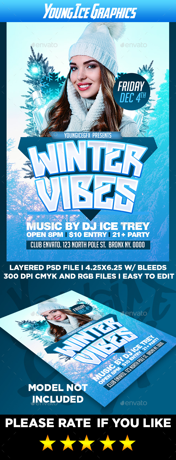 Winter Vibes Flyer Template - Clubs & Parties Events