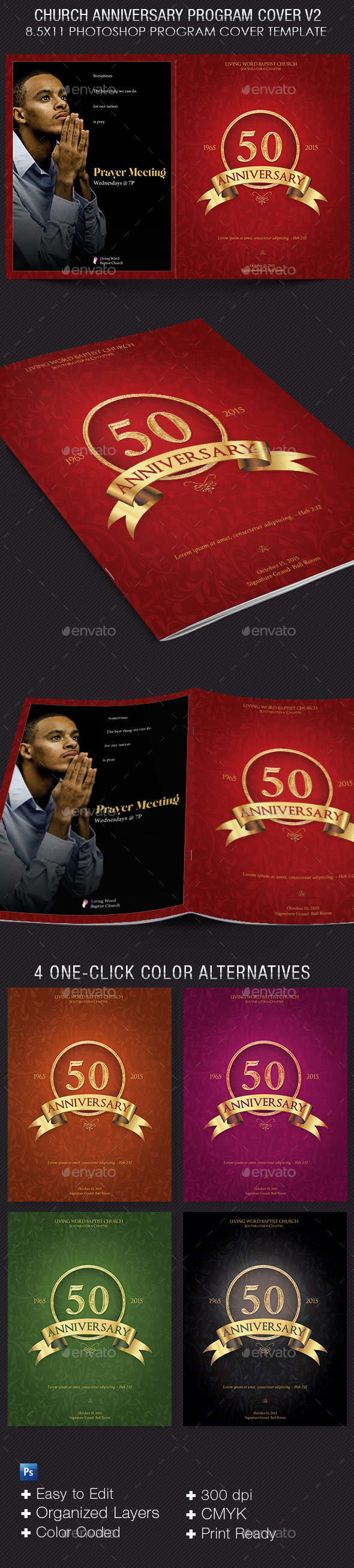 Church Anniversary Program Cover Template V2 - Magazines Print Templates